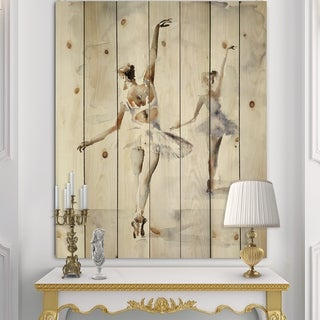 Designart 'watercolors Ballerinas Dance II' French Country Print on Natural Pine Wood - Grey