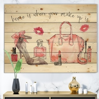 Designart 'Chic Accents I' Fashion Print on Natural Pine Wood - Red