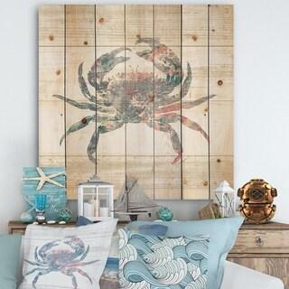 Designart 'Pink Crab Ocean Life' Nautical & Coastal Print on Natural Pine Wood - Grey/Blue