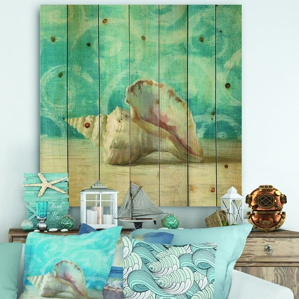 Designart 'Composition from the Sea I' Nautical & Coastal Print on Natural Pine Wood - Blue