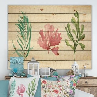Designart 'Mixed Botanical Green Leaves II' Farmhouse Print on Natural Pine Wood - Pink