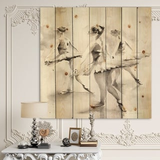 Designart 'watercolors Ballerinas Dance I' French Country Print on Natural Pine Wood - Grey