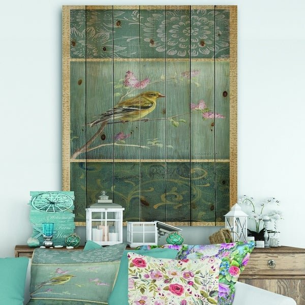 Designart 'Farmhouse Triptych of Blue Ornaments And Chickadee Goldfinch' Farmhouse Print on Natural Pine Wood - Grey