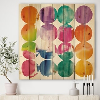 Designart 'Circle Abstract Colorfields' Modern & Contemporary Print on Natural Pine Wood - Multi-color