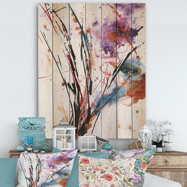 Designart 'Abstract Purple and Blue Flowers' Traditional Print on Natural Pine Wood - Multi-color