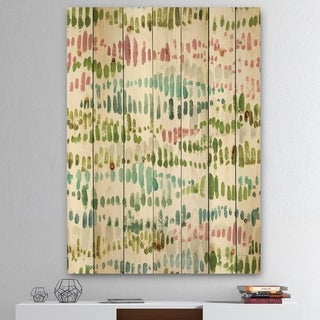 Designart 'Mixed Green Geometric Pattern II' Transitional Print on Natural Pine Wood - Multi-color