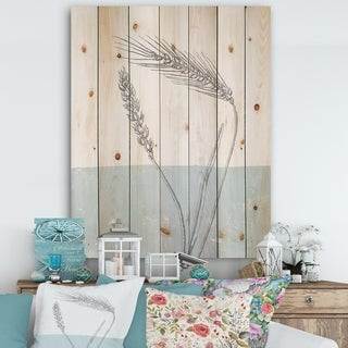 Designart 'Simple Natural Element - Wheat I' Cottage Print on Natural Pine Wood - Blue