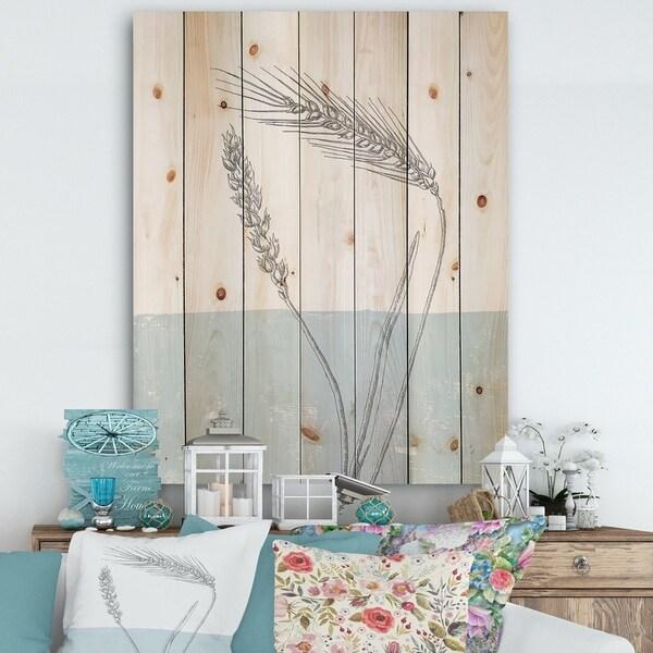 Designart 'Simple Natural Element - Wheat I' Cottage Print on Natural Pine Wood - Blue