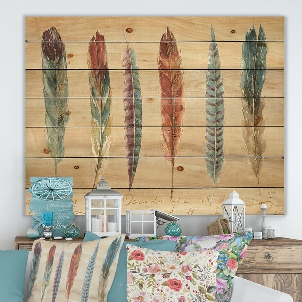 Designart 'Feathers Cottage Family ' Lake House Print on Natural Pine Wood - Multi-color