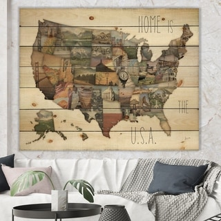 Designart 'InstaStates Monuments Map' Map Print on Natural Pine Wood - Brown