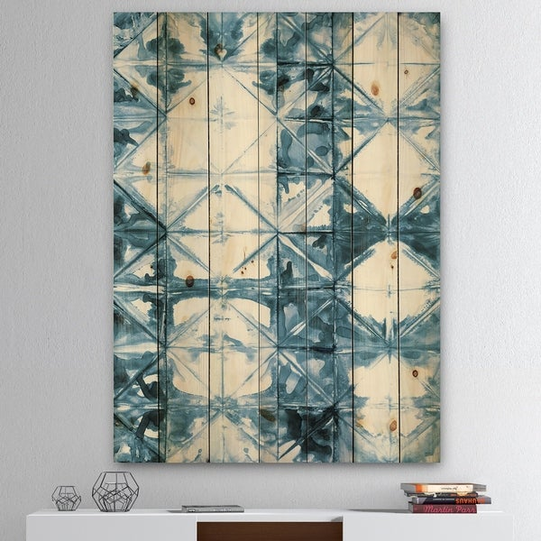 Designart 'Indigo watercolor geometrical I ' Contemporary Print on Natural Pine Wood - Blue/White