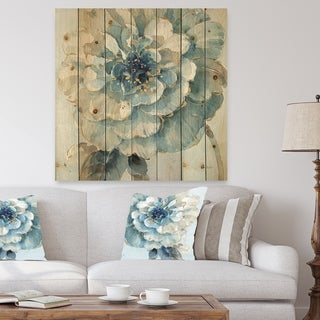Designart 'Indigold Watercolor Flower II' Farmhouse Print on Natural Pine Wood - Grey/Blue