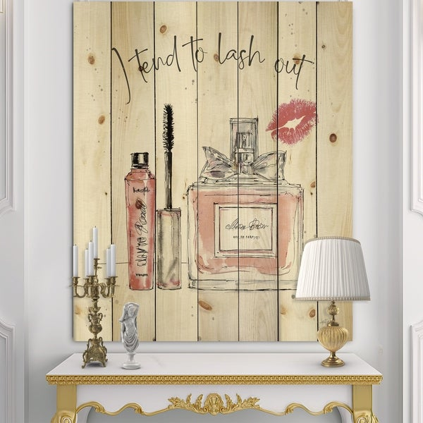 Designart 'Glam Chic Accents V' Fashion Print on Natural Pine Wood - Pink
