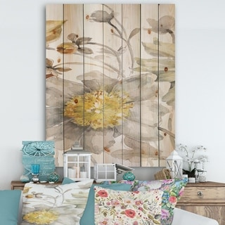Designart 'Fields of Gold Watercolor Flower III' Cabin & Lodge Print on Natural Pine Wood - Grey