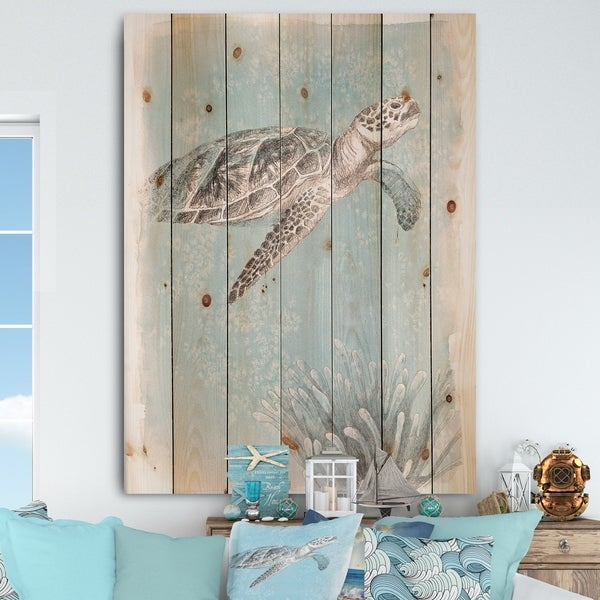 Designart 'Coastal Sea Life I Turtle sketches' Nautical & Coastal Print on Natural Pine Wood - Grey/Blue