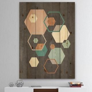 Designart 'Geometric hexagons Pattern IV' Transitional Print on Natural Pine Wood - Multi-color