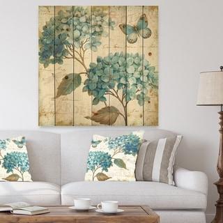 Designart 'butterfly Blue Garden I' Farmhouse Print on Natural Pine Wood