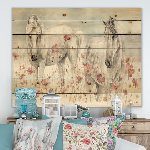 Designart 'watercolors Pink Wild Horses ' Farmhouse Print on Natural Pine Wood - Grey