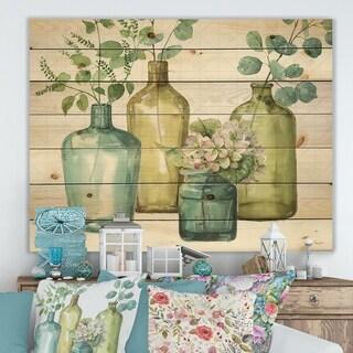 Designart 'Mixed Botanical Green Leaves VIII' Cottage Print on Natural Pine Wood