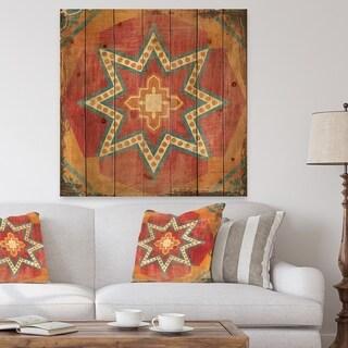Designart 'Moroccan Orange Tiles Collage I' Bohemian Chic Print on Natural Pine Wood - Red