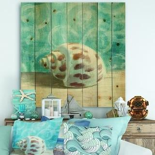 Designart 'Composition from the Sea III' Nautical & Coastal Print on Natural Pine Wood - Blue