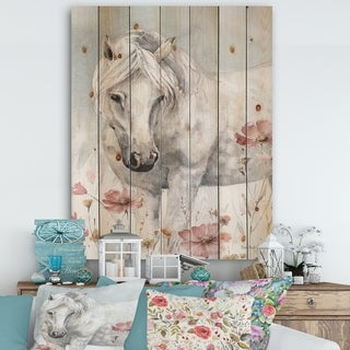 Designart 'watercolors Pink Wild Horses I' Farmhouse Print on Natural Pine Wood - Grey