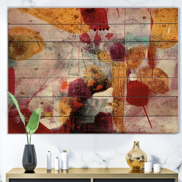Designart 'Abstract Watercolor with Red and Yellow' Contemporary Print on Natural Pine Wood - Multi-color