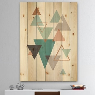 Designart 'Geometric hexagons Pattern V' Transitional Print on Natural Pine Wood - Multi-color