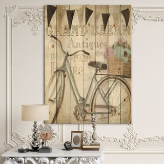 Designart 'French Bicycle Flea Market II' French Country Print on Natural Pine Wood - Black/Grey