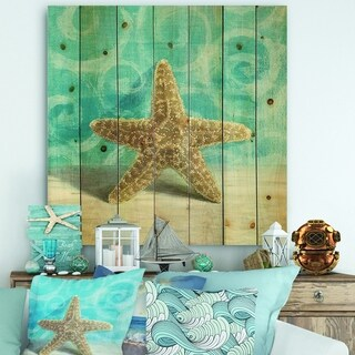 Designart 'Composition from the Sea II' Nautical & Coastal Print on Natural Pine Wood - Blue