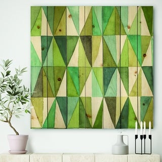 Designart 'geometric Green Triangle III' Mid-Century Modern Transitional Print on Natural Pine Wood - Blue