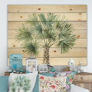 Designart 'Mixed Botanical Greens palms III' Farmhouse Print on Natural Pine Wood - Green