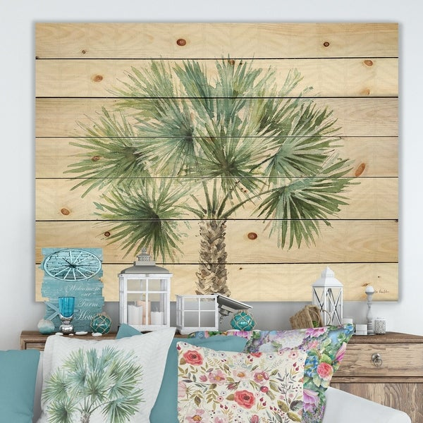 Designart 'Mixed Botanical Greens palms III' Farmhouse Print on Natural Pine Wood - Green