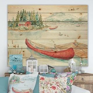 Designart 'Lake House Canoes II' Lake House Print on Natural Pine Wood - Green/Pink