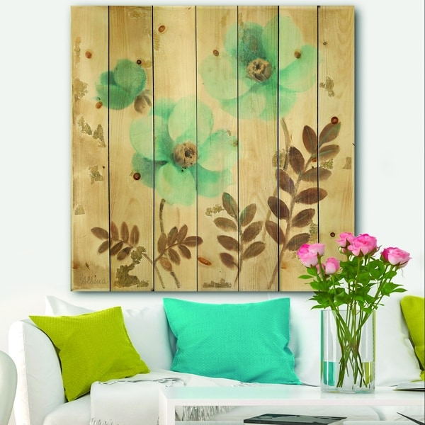 Designart 'Blue Poppies Cottage Flowers II' Farmhouse Print on Natural Pine Wood - Blue/Brown