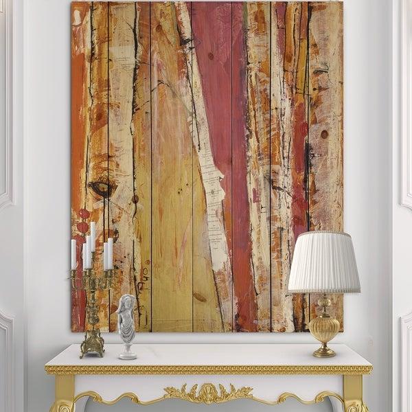 Designart 'Orange Glam Natural Wood' Traditional Print on Natural Pine Wood - Orange/Pink