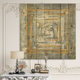 Designart 'Gold Glam on Grey Tapestry II' Transitional Print on Natural Pine Wood