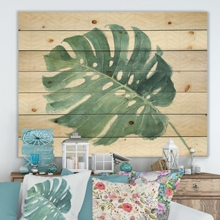 Designart 'Mixed Botanical Green Leaves IV' Cottage Print on Natural Pine Wood