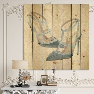 Designart 'Glam cosmetics Blue Shoes' Fashion Print on Natural Pine Wood