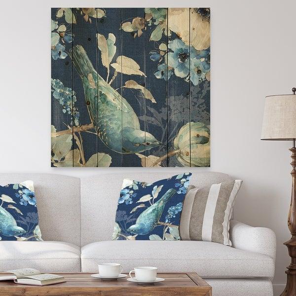 Designart 'Indigold Bird Cottage Family IV' Farmhouse Print on Natural Pine Wood - Blue
