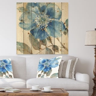 Designart 'Indigold Watercolor Flower I' Farmhouse Print on Natural Pine Wood - Blue