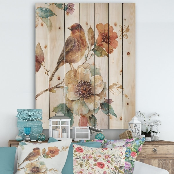 Designart 'Farmhouse Bird on Flower Branch' Traditional Print on Natural Pine Wood - Multi-color