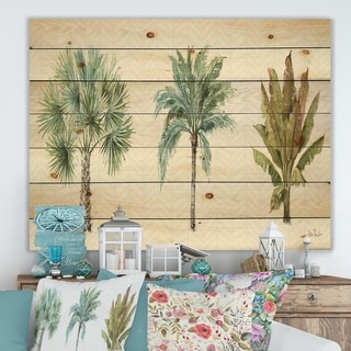 Designart 'Mixed Botanical Greens palms I' Farmhouse Print on Natural Pine Wood - Green
