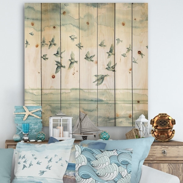 Designart 'Indigold Bird Cottage Family VII' Animals Print on Natural Pine Wood - Blue/White