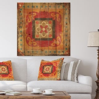 Designart 'Moroccan Orange Tiles Collage II' Bohemian Chic Print on Natural Pine Wood - Red