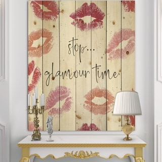 Designart 'Chic Accents VI' Fashion Print on Natural Pine Wood - Red