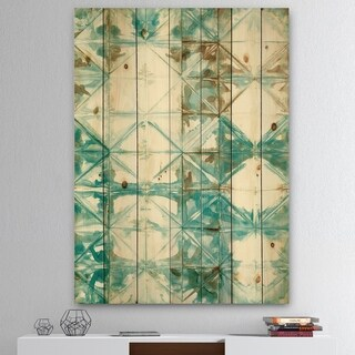 Designart 'Turquoise Watercolor geometrical IV' Modern & Transitional Print on Natural Pine Wood - Blue/Brown