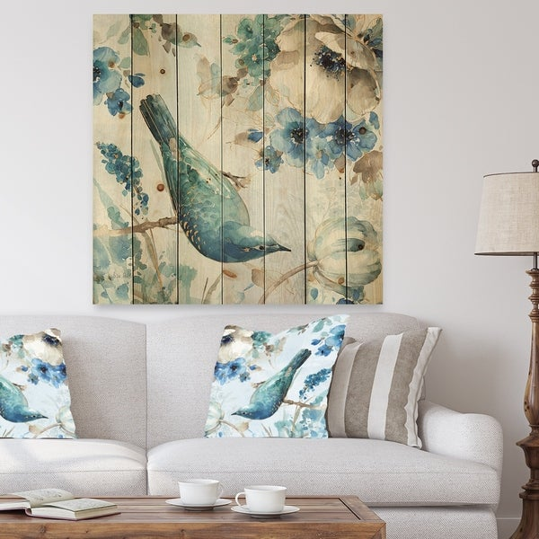 Designart 'Indigold Watercolor Lovely bird I' Farmhouse Print on Natural Pine Wood - Blue