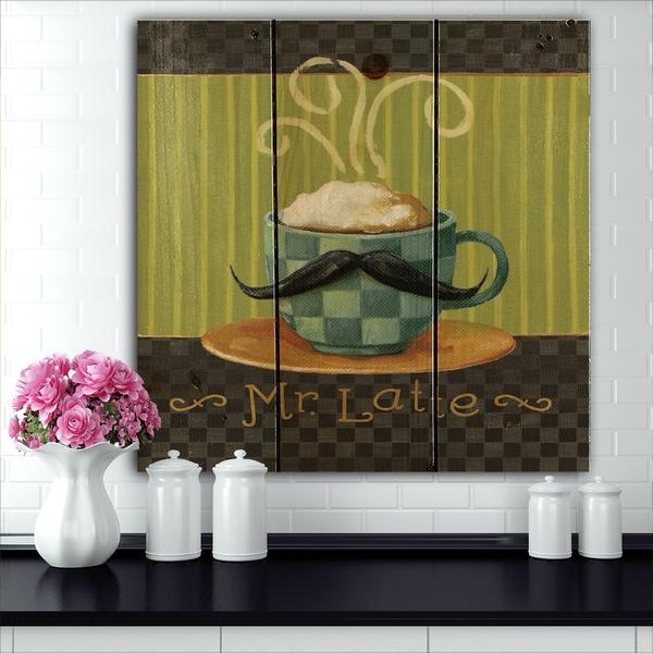 Designart 'Kitchen Cafe Moustache I' Kitchen Print on Natural Pine Wood - Blue/Green