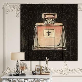 Designart 'Glam & Fashion Parfum Boudoir I' Posh & Luxe Print on Natural Pine Wood - Black/Pink